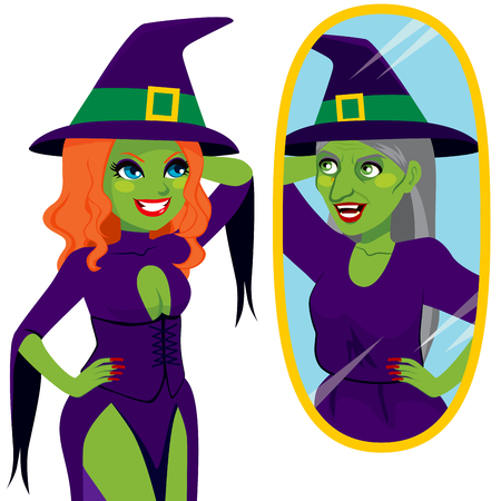 looking in mirror: Pretty and ugly evil scary green skin witch looking her true self reflection on magical mirror