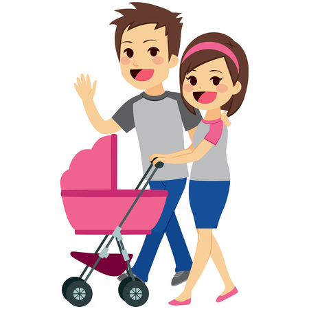 pushing: Cute young happy couple pushing pink stroller together