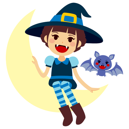 vamp: Cute little girl sitting on the moon wearing blue witch Halloween costume and vampire fangs and mascot vamp Illustration
