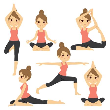 Definir com a mulher bonita que exercita vários yoga poses diferentes de treinamento