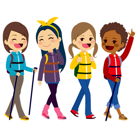 Happy hiking girls friends from diverse ethnicities enjoying climbing mountain Stock Illustratie