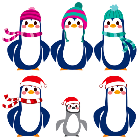 warm clothes: Adorable penguin character collection wearing warm wool hat and scarf