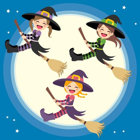 brujas caricatura: Pequeño grupo lindo de brujas volando delante de la luna llena con la escoba mágica en la noche