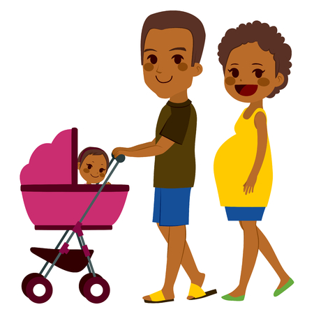 Cute African American couple pushing stroller with newborn baby Illustration