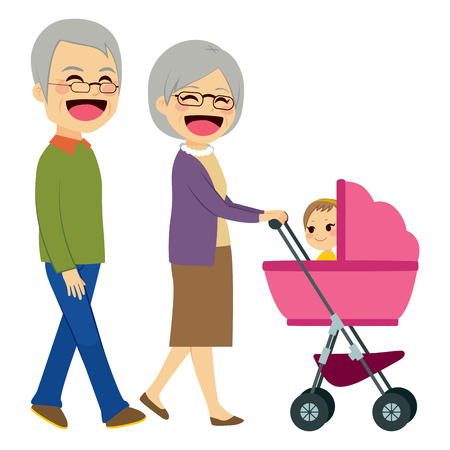 Cute happy grandparents pushing stroller with newborn baby Ilustrace