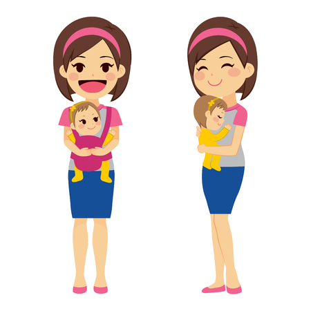 Mother on two different actions holding baby with baby carrier and with arms while baby is sleeping