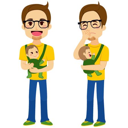 niños malos: Padre de dos posturas diferentes que detienen al bebé con la mochila porta bebé y la celebración de malestar bebé mientras cubre la nariz con la mano que muestra el mal olor del pañal del bebé