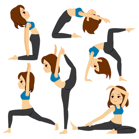 Set with beautiful girl exercising various different yoga poses training