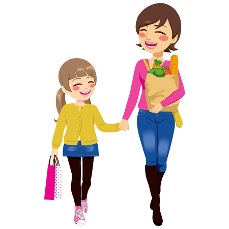 woman bag: Beautiful mom with grocery paper bag and daughter shopping together helping parent holding bags Illustration