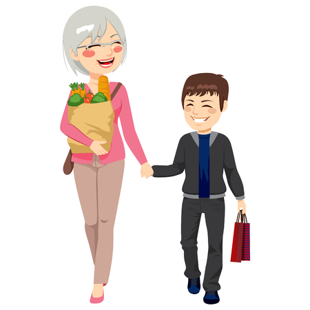 grandparent: Lovely grandmother with grocery paper bag and grandson shopping together helping grandparent holding bags Illustration