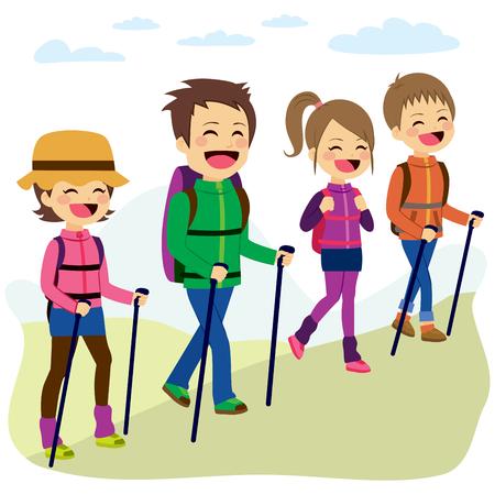 niño trepando: Familia feliz de montaña escalada con palos en un día de viaje de vacaciones Vectores