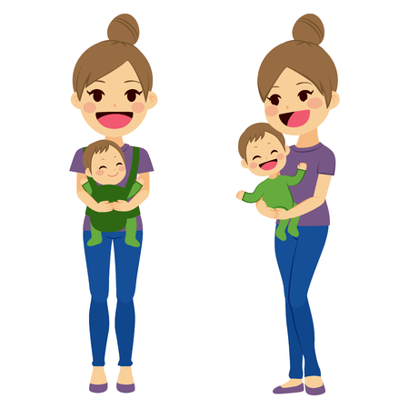 Mother on two different poses holding baby with baby carrier and with arms while baby is happy smiling 矢量图像