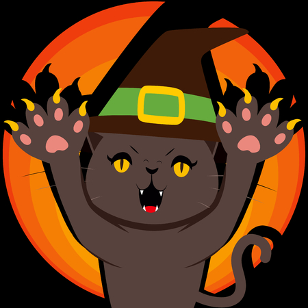 menacing: Menacing black witch Halloween cat showing his claws and paws Illustration