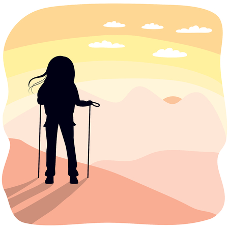 mountain sunset: Silhouette of hiking woman standing on mountain top looking a beautiful sunset or sunrise landscape