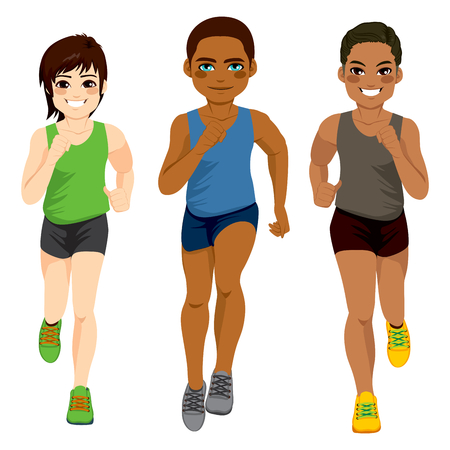 asian and indian ethnicities: Healthy diverse young runner men of different ethnicity Illustration