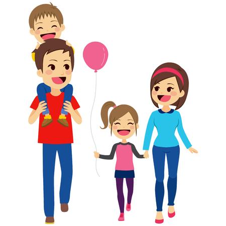 Cute šťastná čtyřmi člen rodiny, chůze, společně s úsměvem