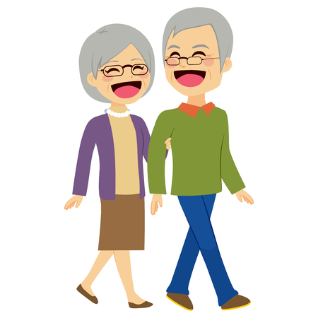 old wife: Lovely senior couple laughing and talking walking together