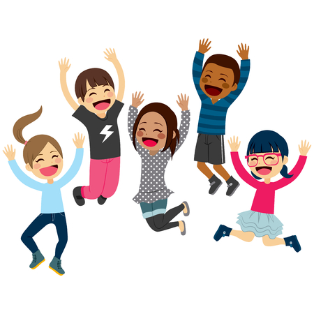 young people party: Cute happy children jumping together with arms up and winter fashion clothes Illustration