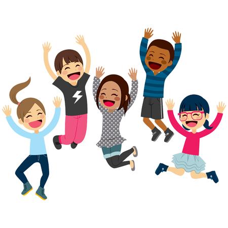 Schattige gelukkige kinderen springen samen met de armen omhoog en winter mode kleding