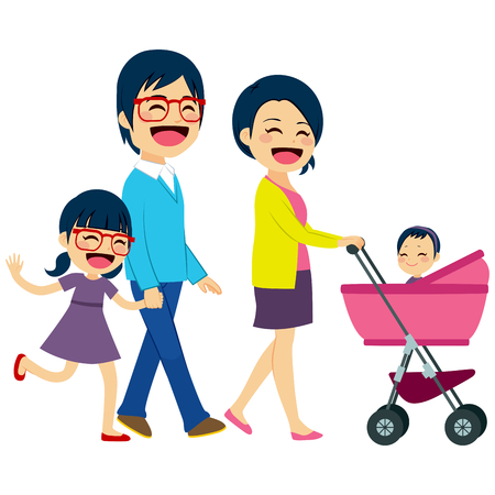 Cute Asian couple pushing stroller with newborn baby and happy daughter big sister