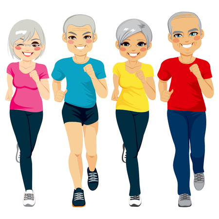 Group of senior runner men and women running together doing exercise to stay healthy Vectores