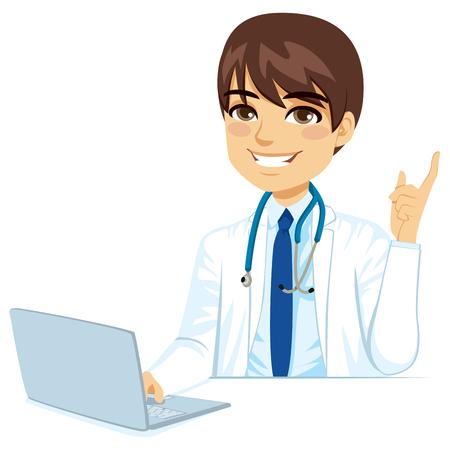 助言、指を指していると、ラップトップ コンピューターを使用して自信を持って男性女医