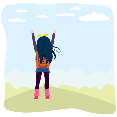 rear view girl: Back view illustration of girl with arms up enjoying looking nature scenery from top of mountain Illustration