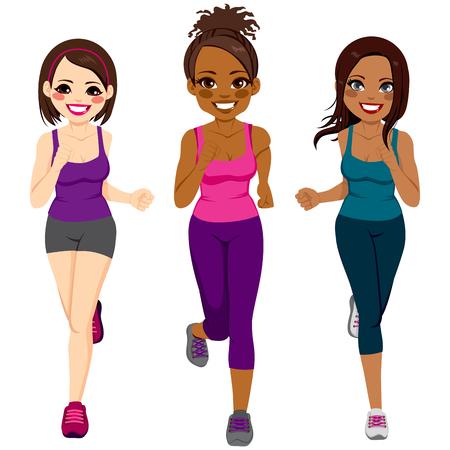 Mooie diverse jonge runner vrouwen van verschillende etnische afkomst