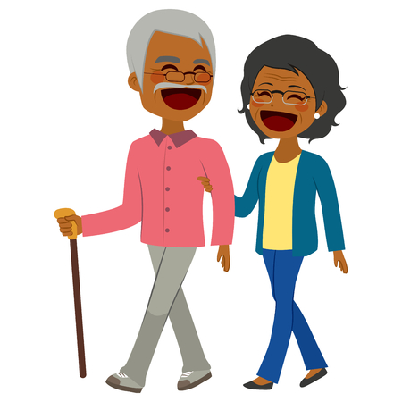 two men talking: Lovely African American senior couple laughing and talking walking together Illustration