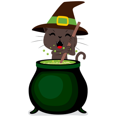 brew: Happy witch cat cooking potion brew on magic cauldron on Halloween Illustration