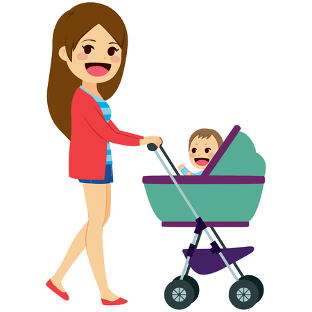mom son: Beautiful young single mom pushing stroller with cute newborn