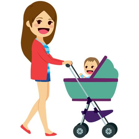 Jovem mãe solteira empurrando carrinho de criança bonita com recém-nascido bonito
