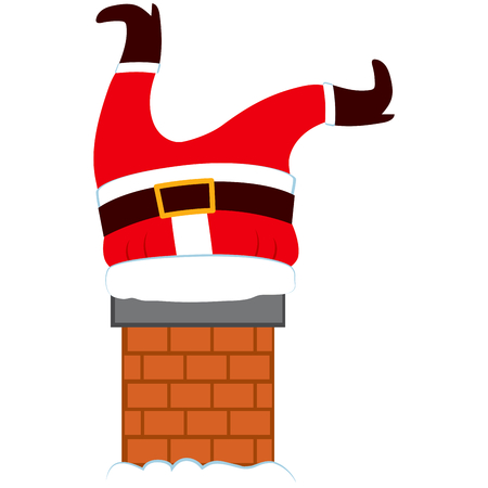 rooftop: Illustration of fat Santa Claus legs stuck trying to enter into house through chimney on Christmas eve