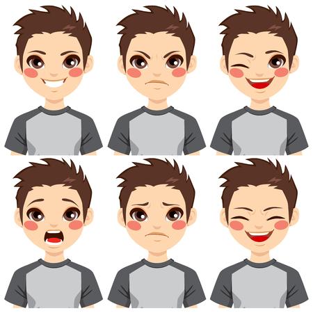 face expressions: Adolescente haciendo seis expresiones faciales diferentes establecido