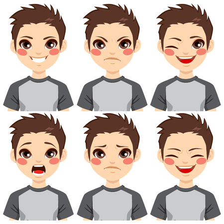 Teenage boy making six different face expressions set