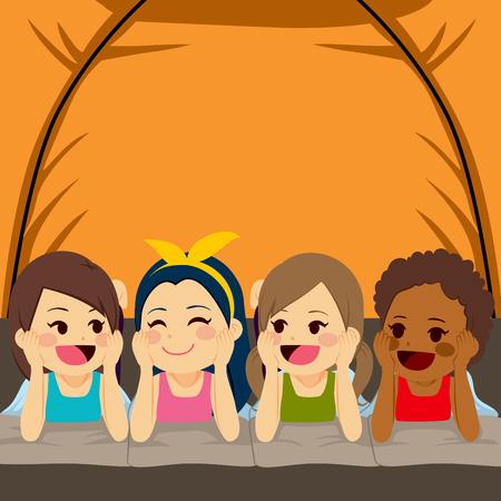 Vier kleine schattige meisjes vrienden kamperen in tent 's nachts
