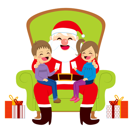 Two cute siblings kids sitting on old Santa Claus lap giving him letters with Christmas wishes