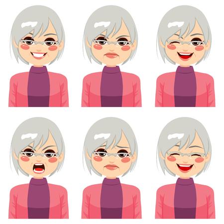 face expressions: Mujer adulta mayor que hace seis expresiones faciales diferentes establecido