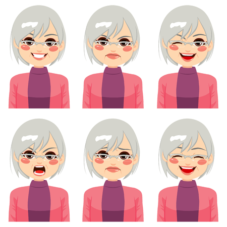 making face: Senior adult woman making six different face expressions set