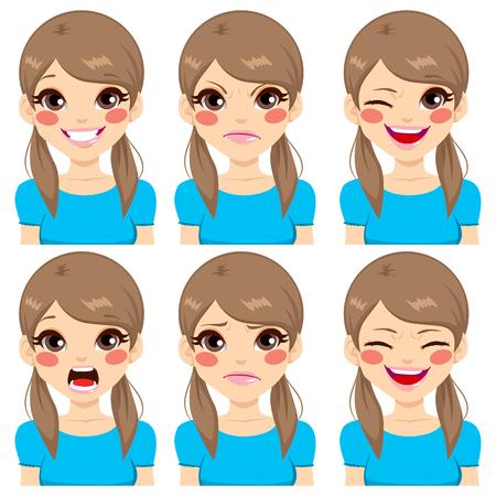 fille triste: Adolescente faisant six expressions faciales différentes réglée