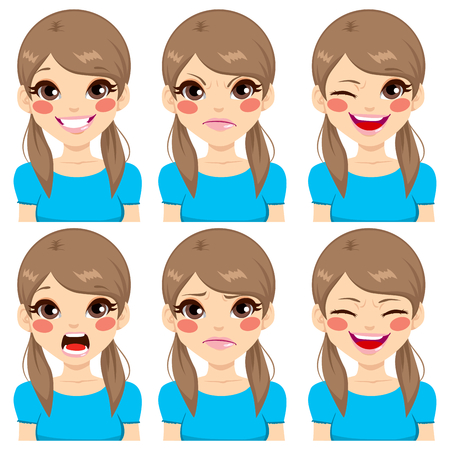 young woman face: Teenage girl making six different face expressions set