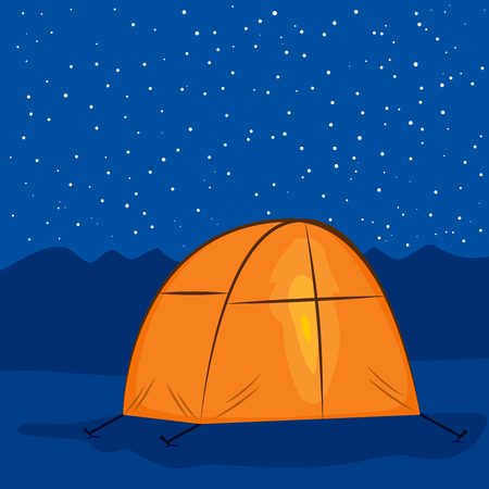 overnight: Illustration of camping tent with light inside under starry night on mountains background