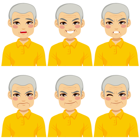 making face: Senior adult man making six different face expressions collection Illustration