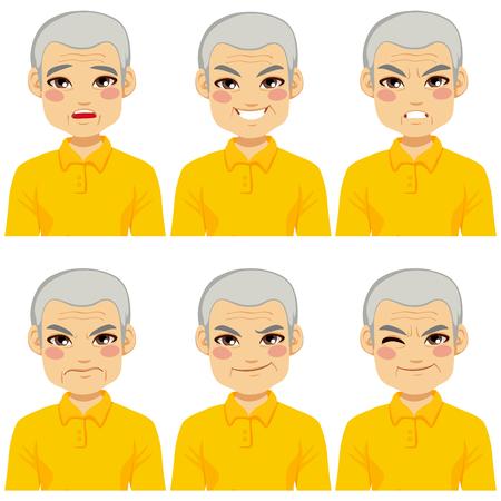 face expressions: Senior hombre adulto haciendo colecci�n de seis expresiones faciales diferentes