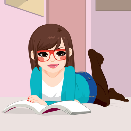 lying in bed: Beautiful girl reading book lying down on bed in her bedroom Illustration