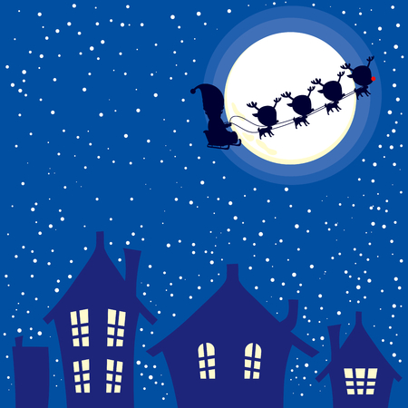 christmas night: Illustration of abstract background of Christmas night with Santa Claus and reindeer sleigh flying through sky