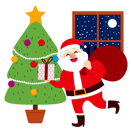 bringing: Happy Santa Claus bringing Christmas gifts and delivering presents under tree Illustration