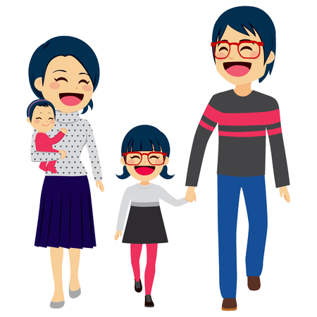Cute happy four member Asian family walking together smiling
