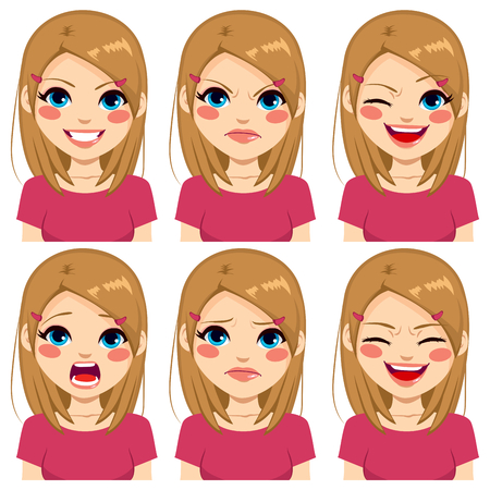 Teenage girl making six different face expressions set with pink shirt Illustration