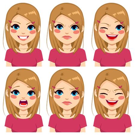 gesicht: Teenager-Mädchen, sechs verschiedene Gesichtsausdrücke mit rosa Hemd gesetzt